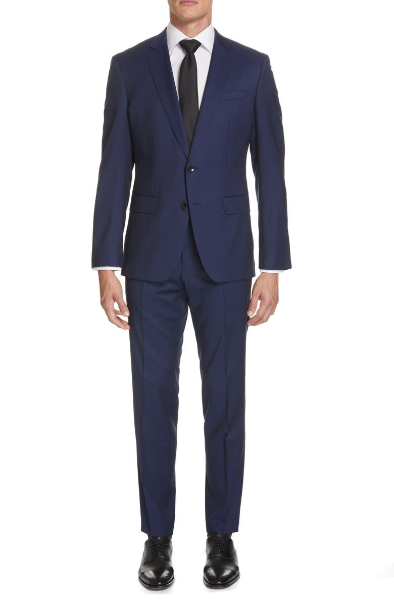 BOSS Huge/Genius Trim Fit Solid Wool Suit, Main, color, BLUE