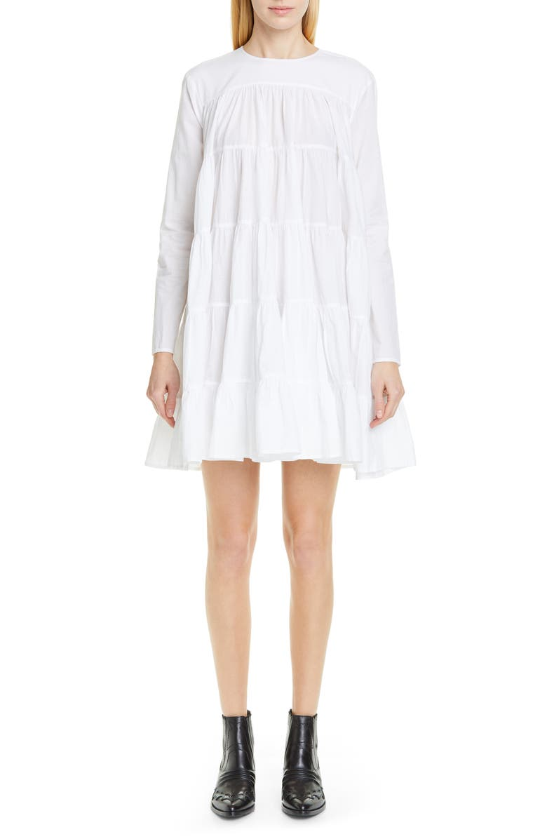 MERLETTE Soliman Tiered Minidress, Main, color, White