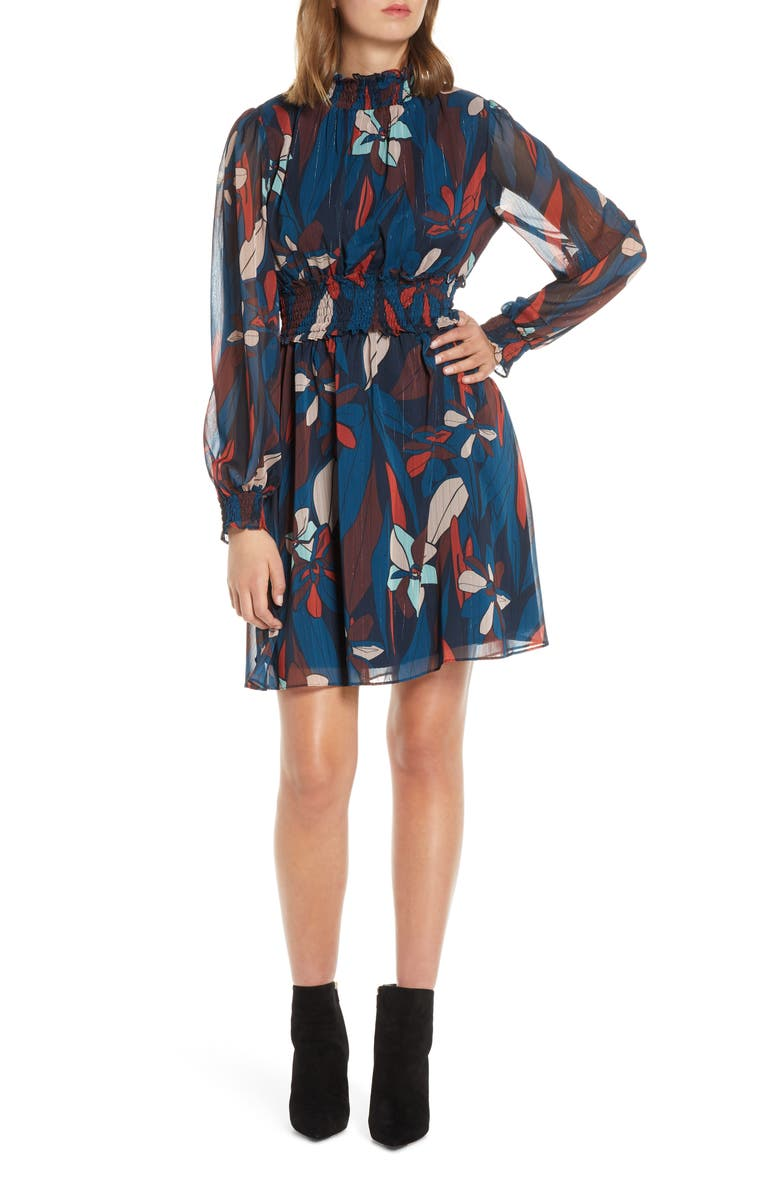 FOREST LILY Floral Long Sleeve Chiffon Dress, Main, color, 400
