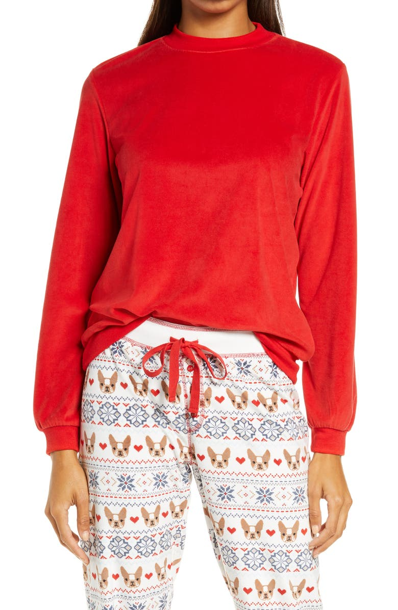 PJ SALVAGE Silky Velour Mock Neck Top, Main, color, RED HOT