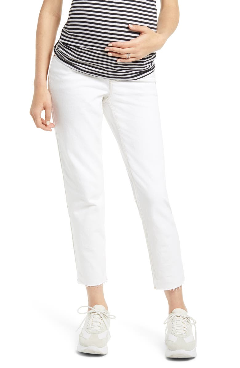 TOPSHOP Over the Bump Maternity Straight Leg Jeans, Main, color, WHITE