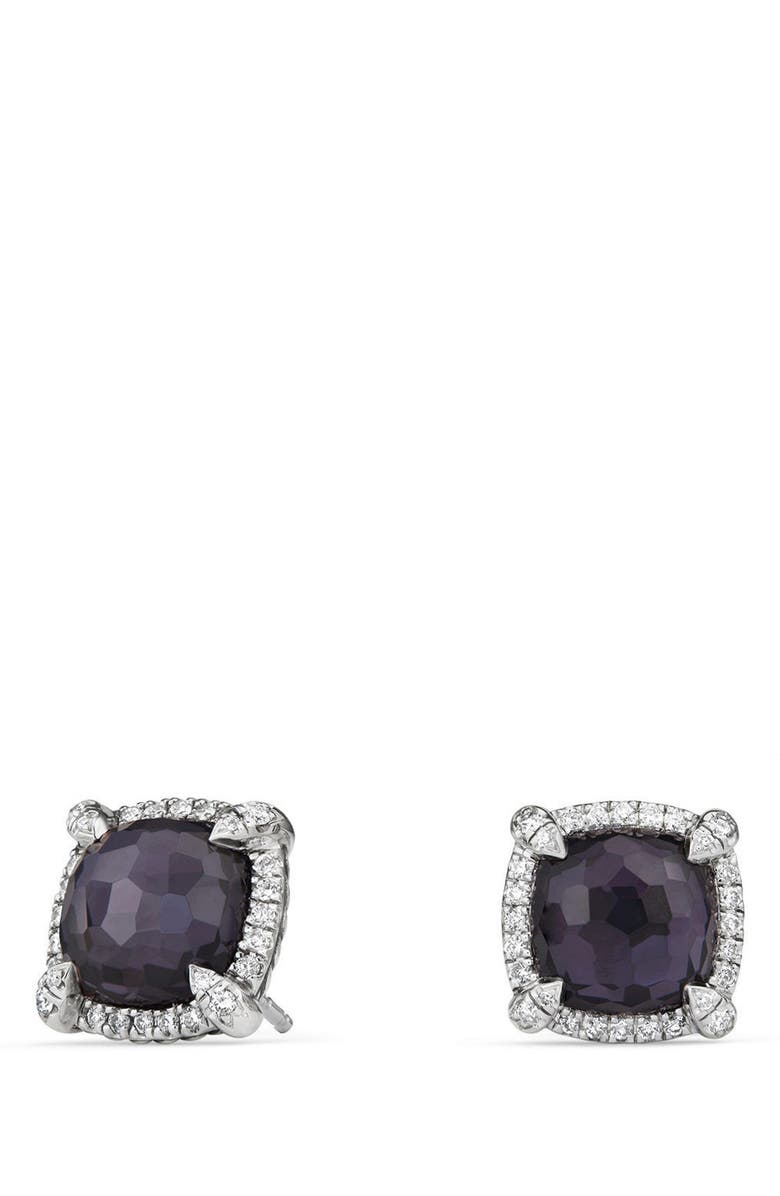 DAVID YURMAN Chatelaine Pavé Bezel Earring with Black Orchid and Diamonds, 9mm, Main, color, AMETHYST/ HEMETINE