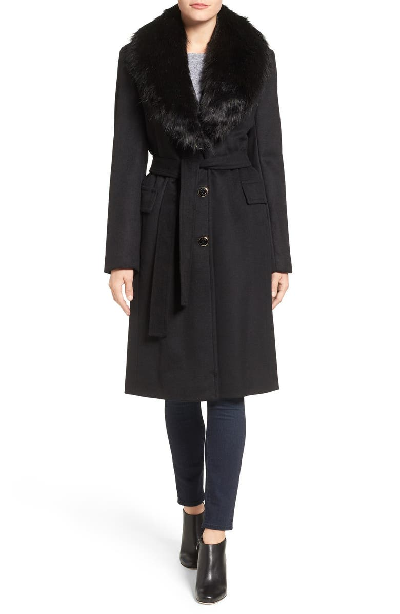 CALVIN KLEIN Faux Fur Collar Wool Blend Coat, Main, color, 001