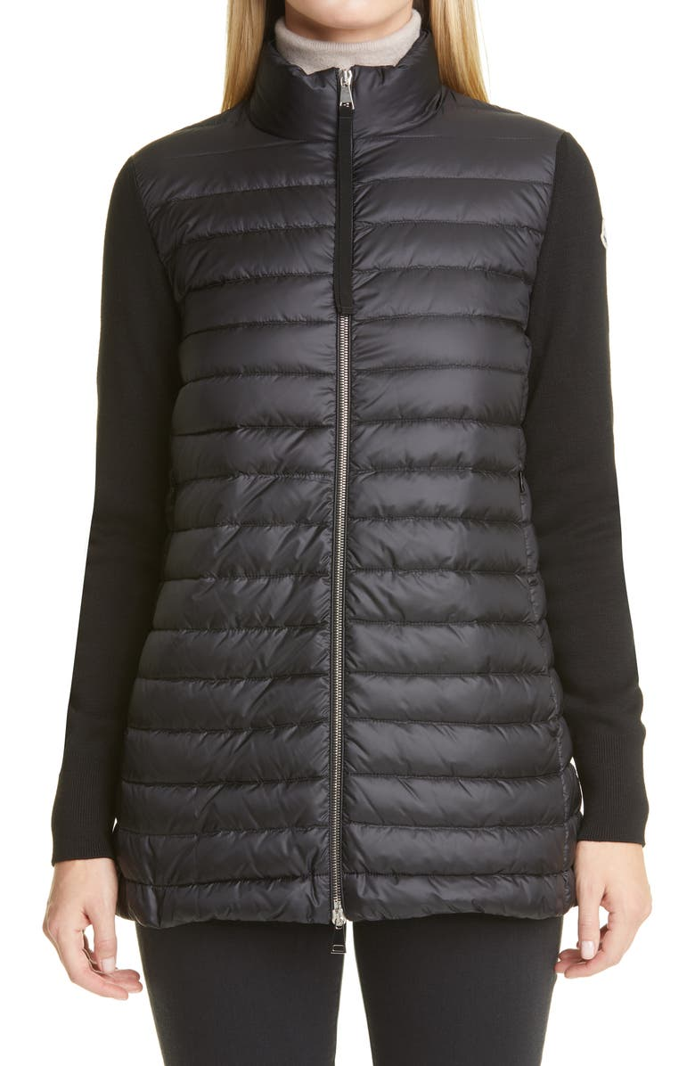 MONCLER Quilted Down & Wool Long Cardigan, Main, color, 001