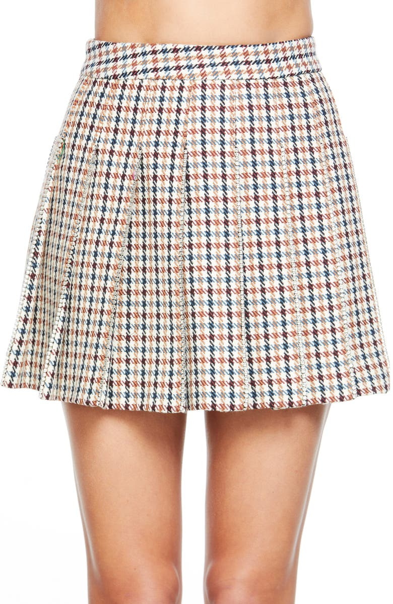 AREA Check Crystal Trim Pleated Miniskirt, Main, color, BROWN/ CLEAR