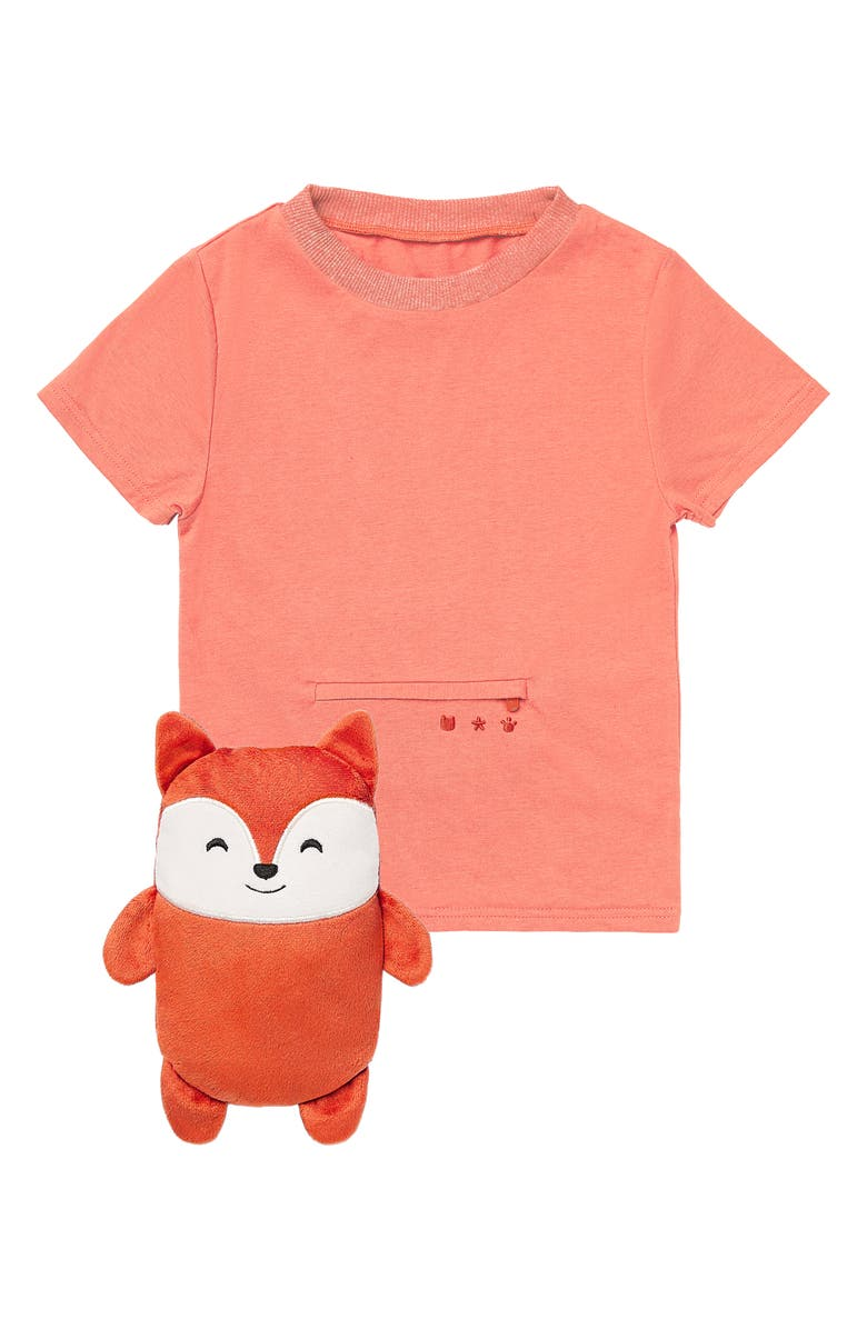CUBCOATS Flynn the Fox 2-in-1 Stuffed Animal T-Shirt, Main, color, BURNT ORANGE MARL