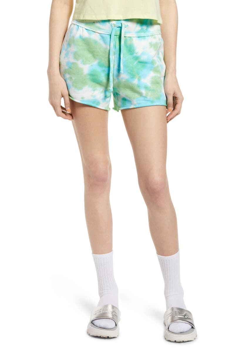BP. French Terry Shorts, Main, color, BLUE/GREEN TIE DYE