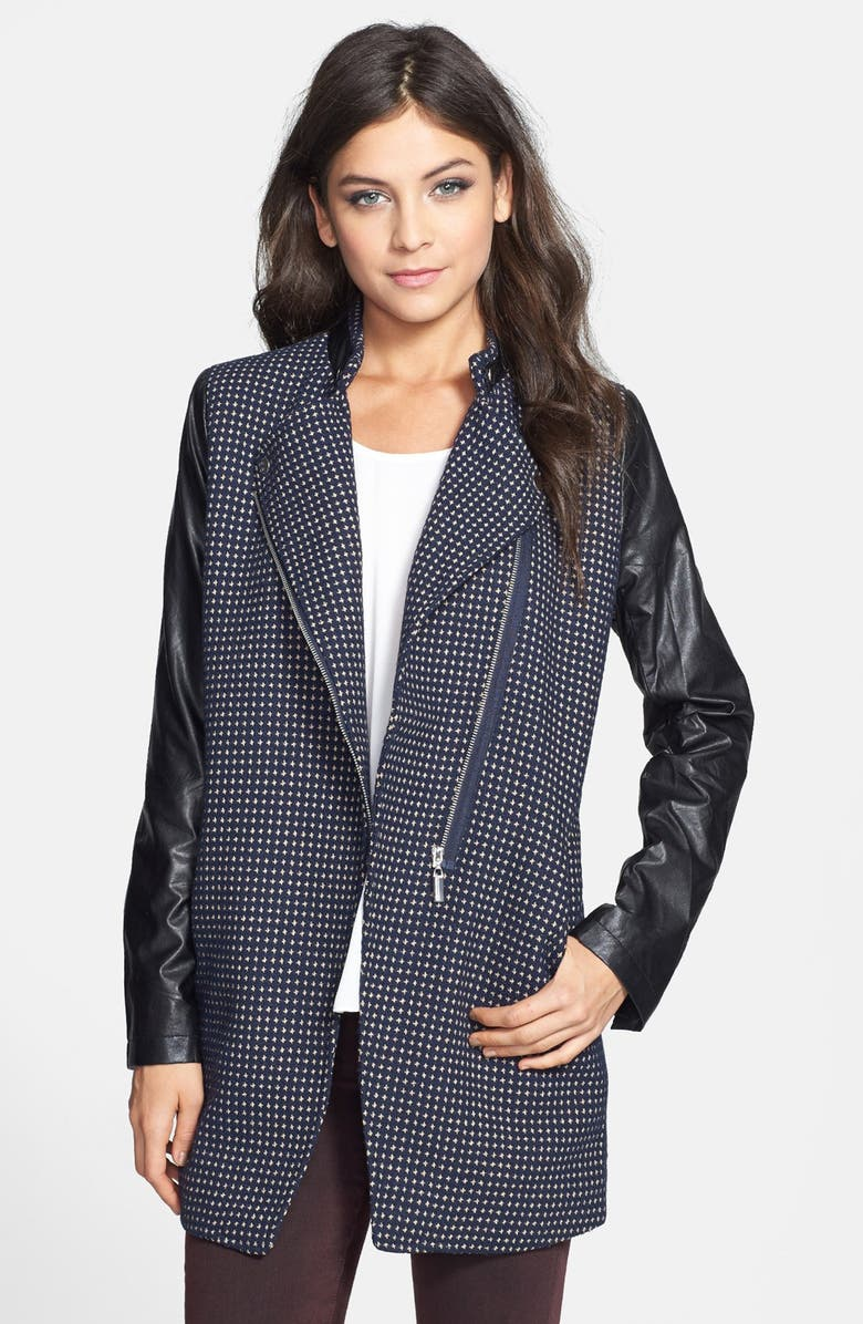 CECICO Faux Leather Sleeve Tweed Coat, Main, color, NAVY/ BLACK