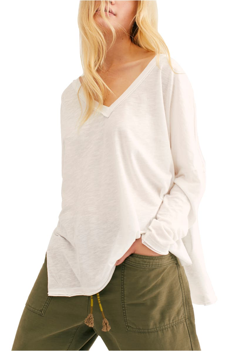 FREE PEOPLE On My Mind V-Neck Shirt, Main, color, WHITE