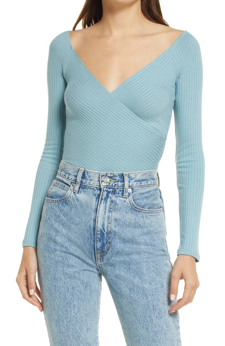REFORMATION Minnie Off the Shoulder Top, Main, color, TURQUOISE