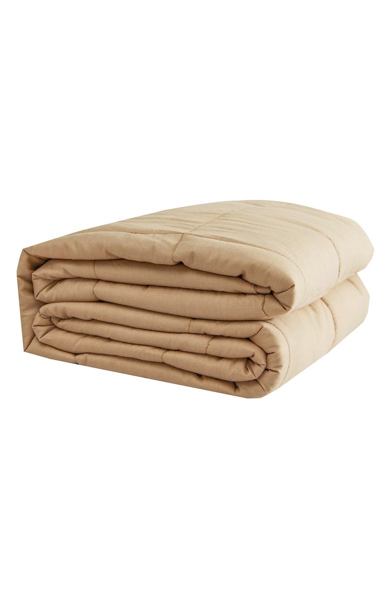 """PUR SERENITY 20 lbs Cotton Weighted Blanket 48""""x 72""""- Tan, Main, color, TAN"""