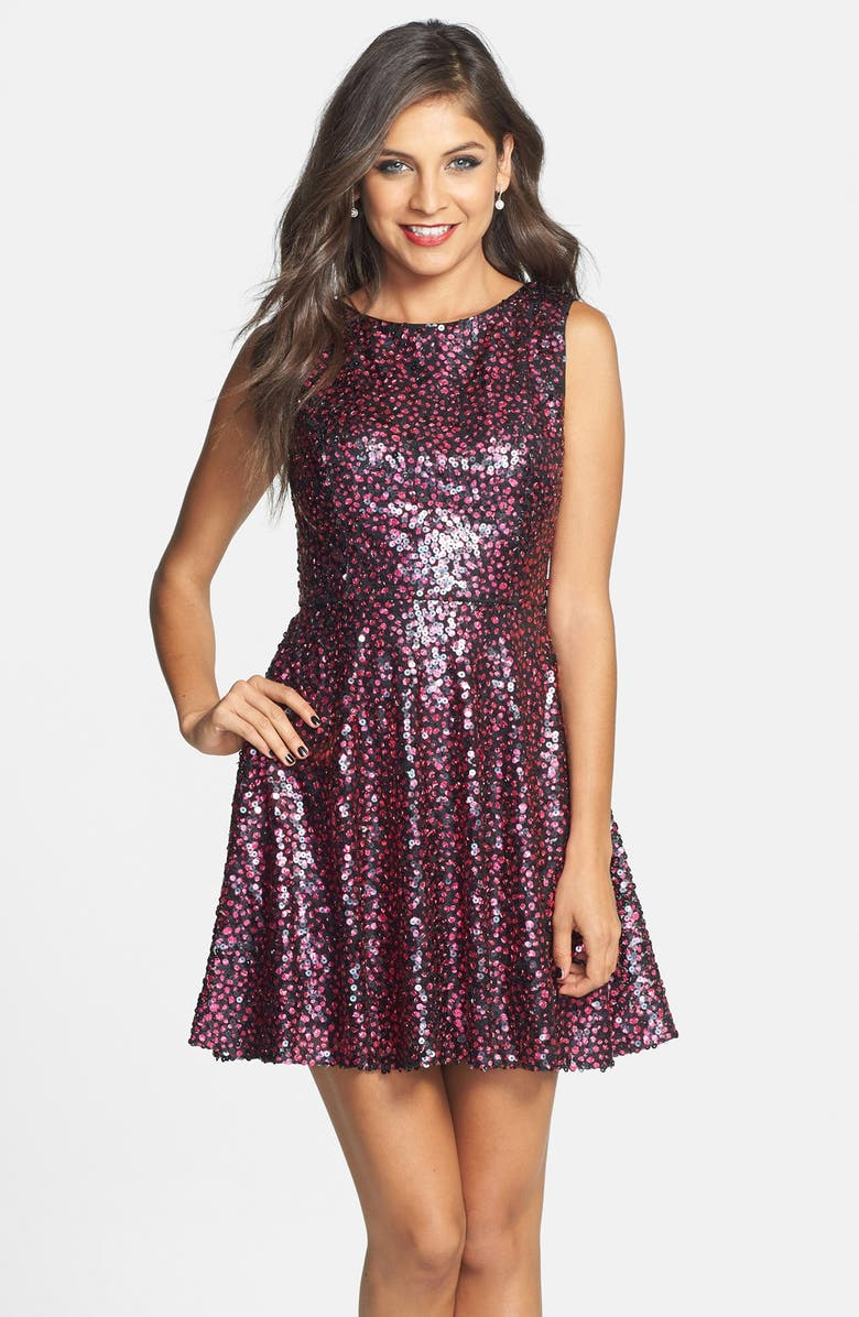 HAILEY LOGAN Sequin Cutout Back Fit & Flare Dress, Main, color, 001