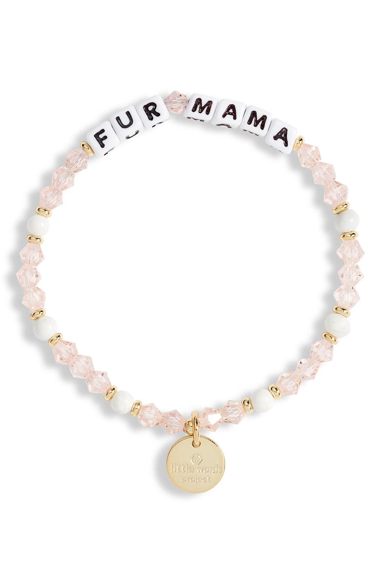 LITTLE WORDS PROJECT Fur Mama Beaded Stretch Bracelet, Main, color, PINK/ WHITE