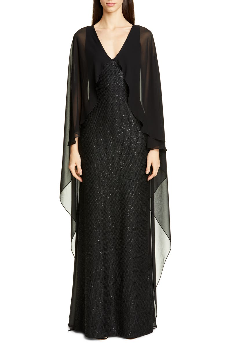 ST. JOHN COLLECTION Sculpted Sequin Tuck Knit Gown, Main, color, 001