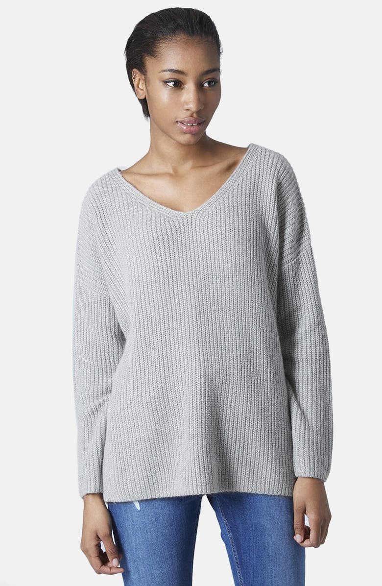 TOPSHOP Double V-Neck Rib Sweater, Main, color, 050