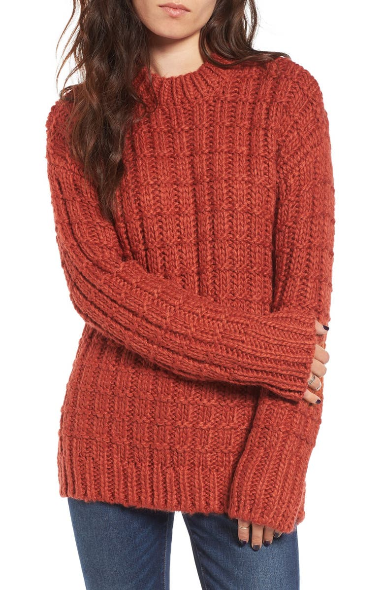 MOON RIVER Chunky Knit Crewneck Sweater, Main, color, 619