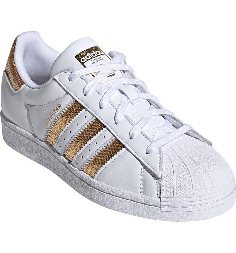 ADIDAS Superstar Sneaker, Main, color, WHITE/ GOLD / WHITE