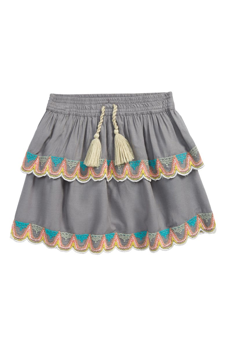 PEEK AREN'T YOU CURIOUS Kids' Embroidered Ruffle Skirt, Main, color, GREY
