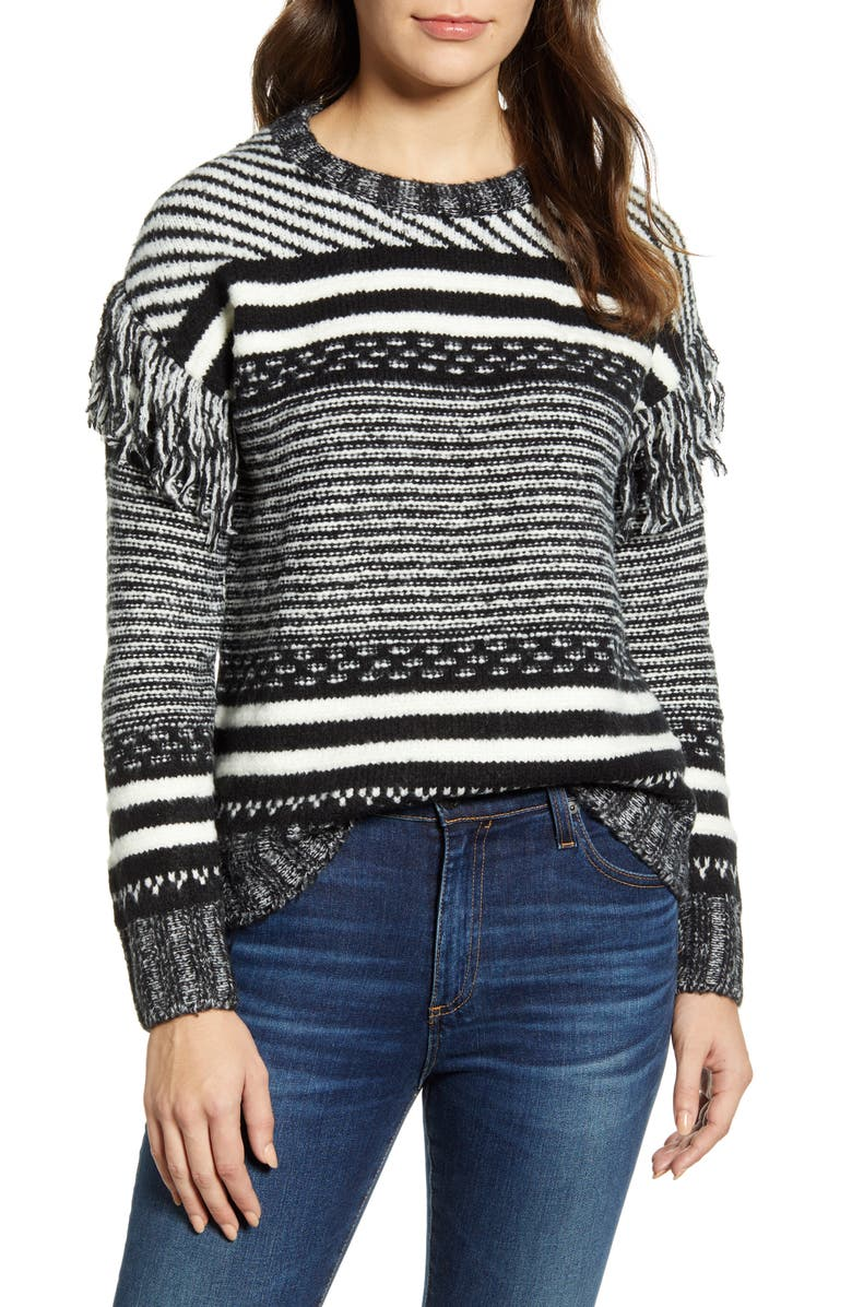 CASLON<SUP>®</SUP> Fringe Sleeve Stripe Sweater, Main, color, 001
