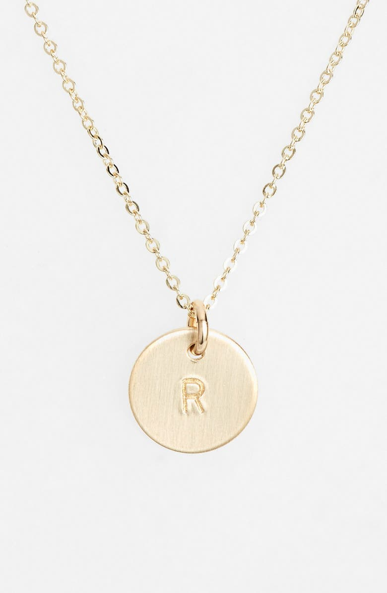 NASHELLE 14k-Gold Fill Initial Mini Circle Necklace, Main, color, 14K GOLD FILL R
