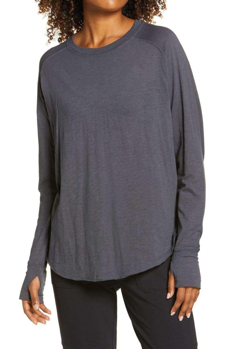 ZELLA Relaxed Long Sleeve T-Shirt, Main, color, GREY FORGED