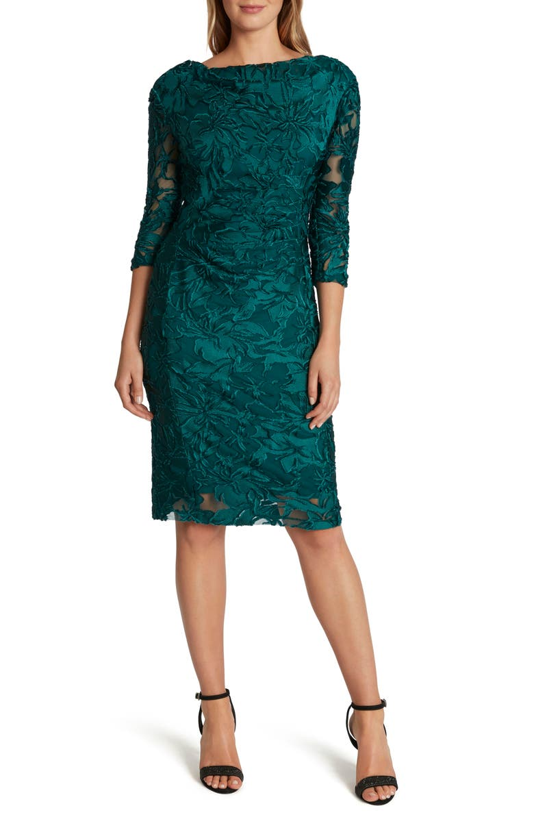 TAHARI Velvet Jacquard Cocktail Sheath Dress, Main, color, MYSTIC TEAL