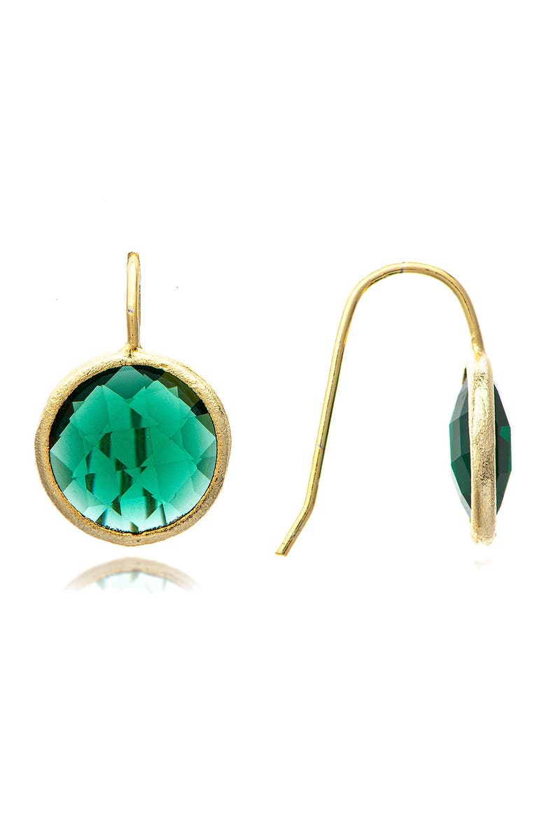 RIVKA FRIEDMAN 18K Gold Clad Faceted Crystal Drop Earrings, Main, color, GREEN