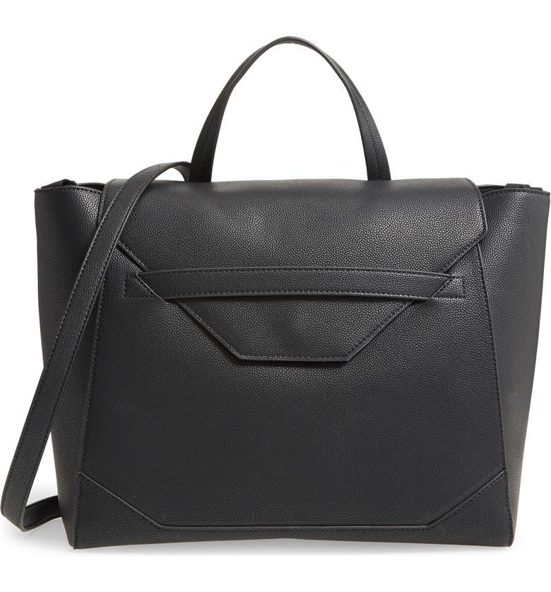 THE HONEST COMPANY Convertible Faux Leather Diaper Tote, Main, color, BLACK