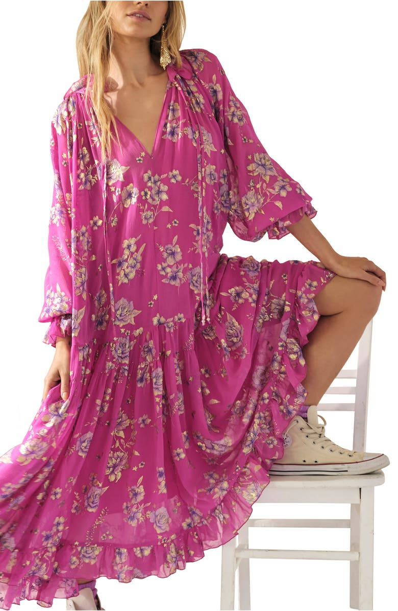 FREE PEOPLE Feeling Groovy Foil Long Sleeve Dress, Main, color, HOT PINK COMBO