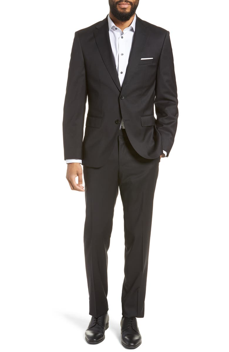 BOSS Johnstons/Lenon Regular Fit Solid Wool Suit, Main, color, 001