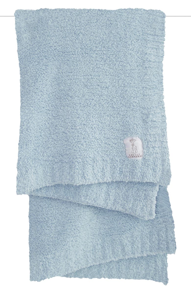 LITTLE GIRAFFE Plush Chenille Blanket, Main, color, BLUE