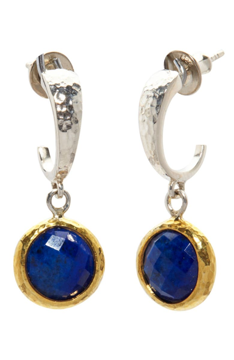 GURHAN Small Hoop Earring With Checkerboard Cut Lapis, Main, color, SILVER