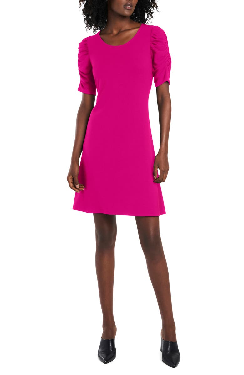 CECE Ruched Sleeve Ponte Knit A-Line Dress, Main, color, SIZZLE PINK