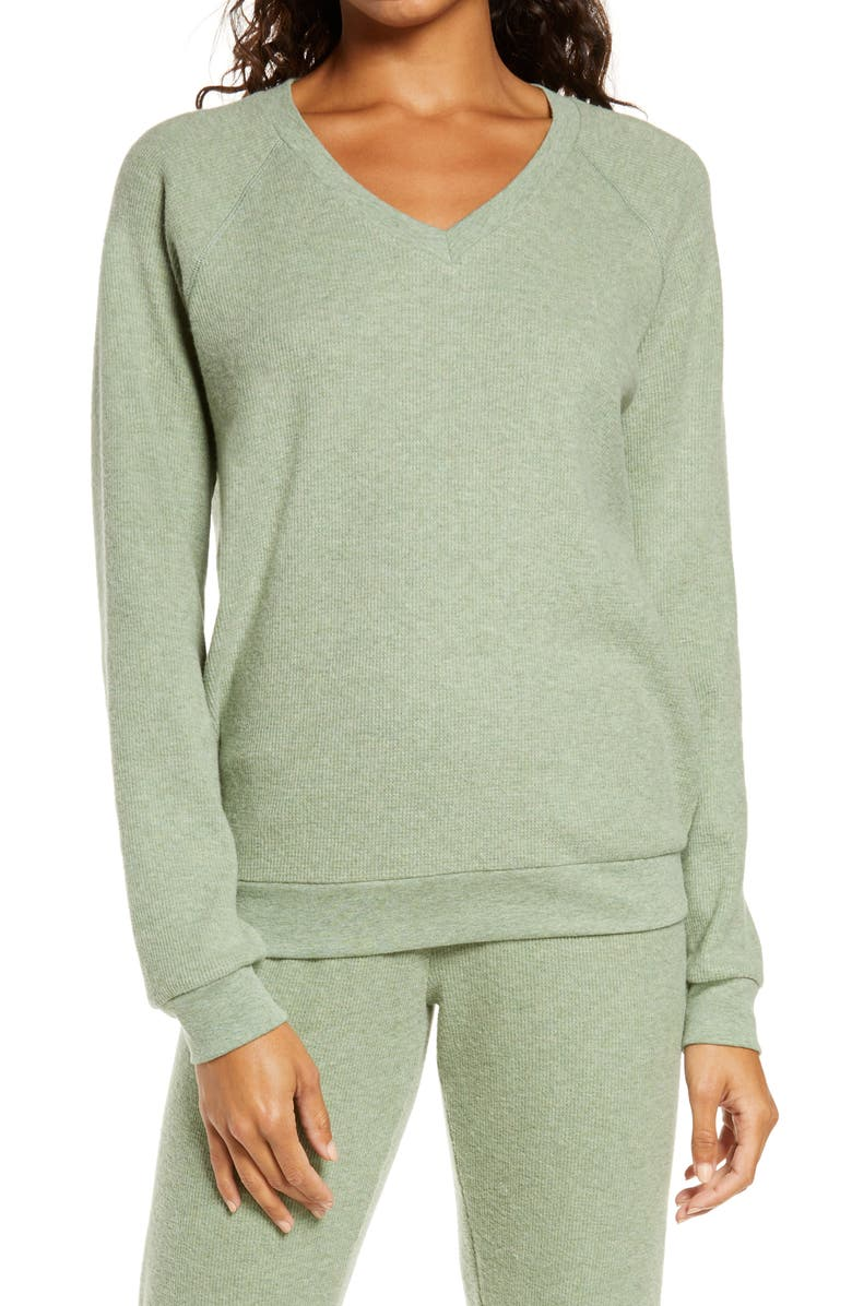 PJ SALVAGE Thermal V-Neck Pullover, Main, color, SAGE
