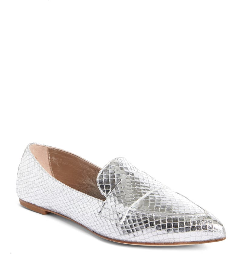 AGL Softy Pointy Toe Moccasin Loafer, Main, color, SILVER SNAKE