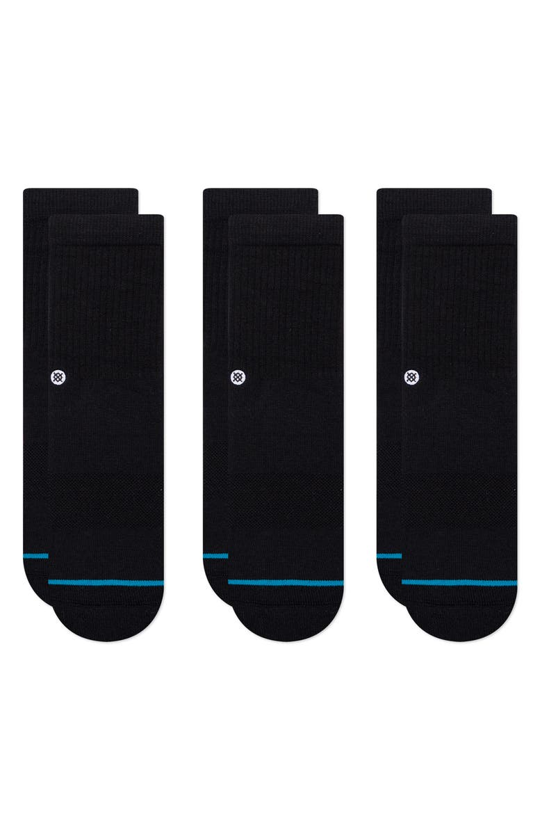 STANCE Icon 3-Pack Assorted Socks, Main, color, BLACK