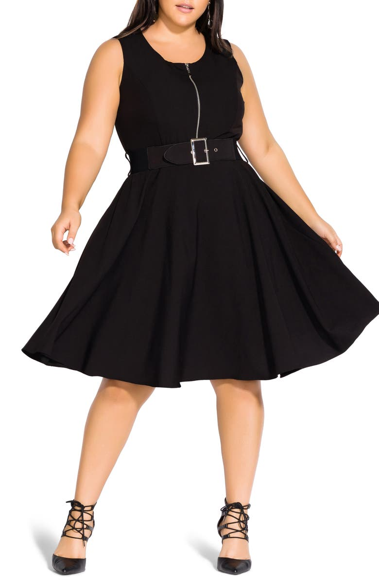 CITY CHIC Veronica Fit & Flare Dress, Main, color, 001