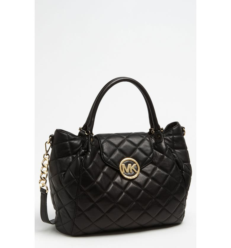 MICHAEL MICHAEL KORS 'Fulton - Large' Quilted Tote, Main, color, 001