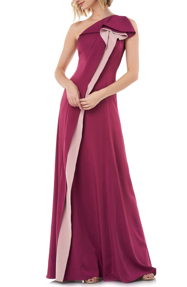 KAY UNGER One-Shoulder Contrast Ruffle Faille Gown, Main, color, 930