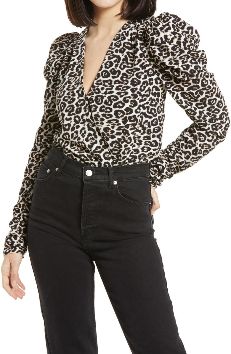 AFRM Danna Puff Sleeve Bodysuit, Main, color, SPRING LEOPARD