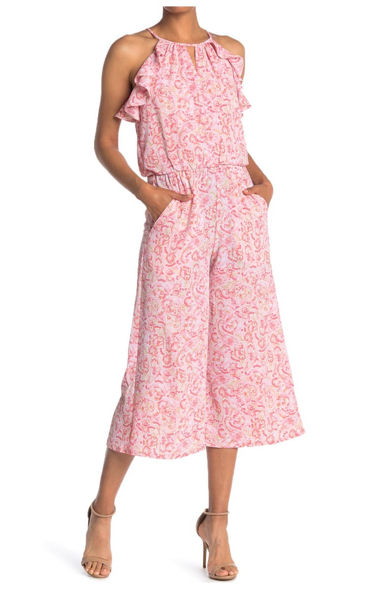 LONDON TIMES Ruffle Trim Keyhole Jumpsuit, Main, color, PINK/TAUPE/ROSE