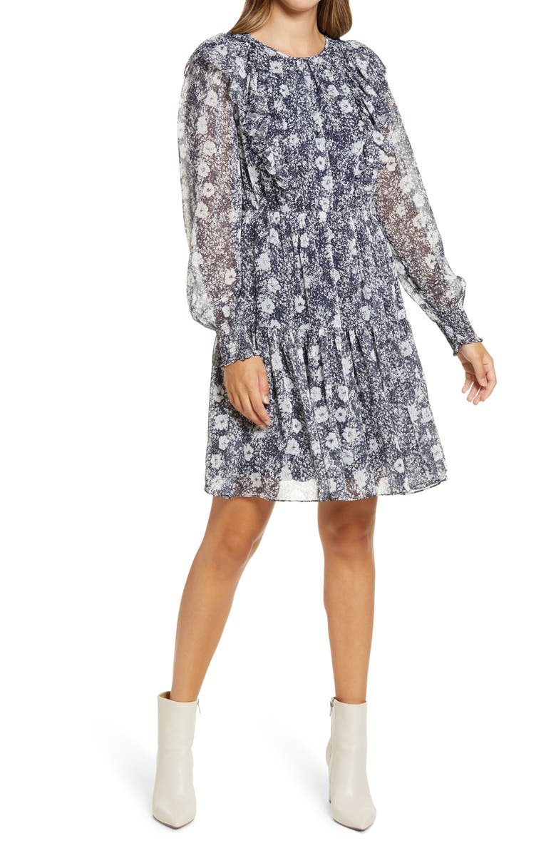 RACHEL PARCELL Metallic Stripe Floral Long Sleeve Dress, Main, color, NAVY- WHITE SUNFLOWER