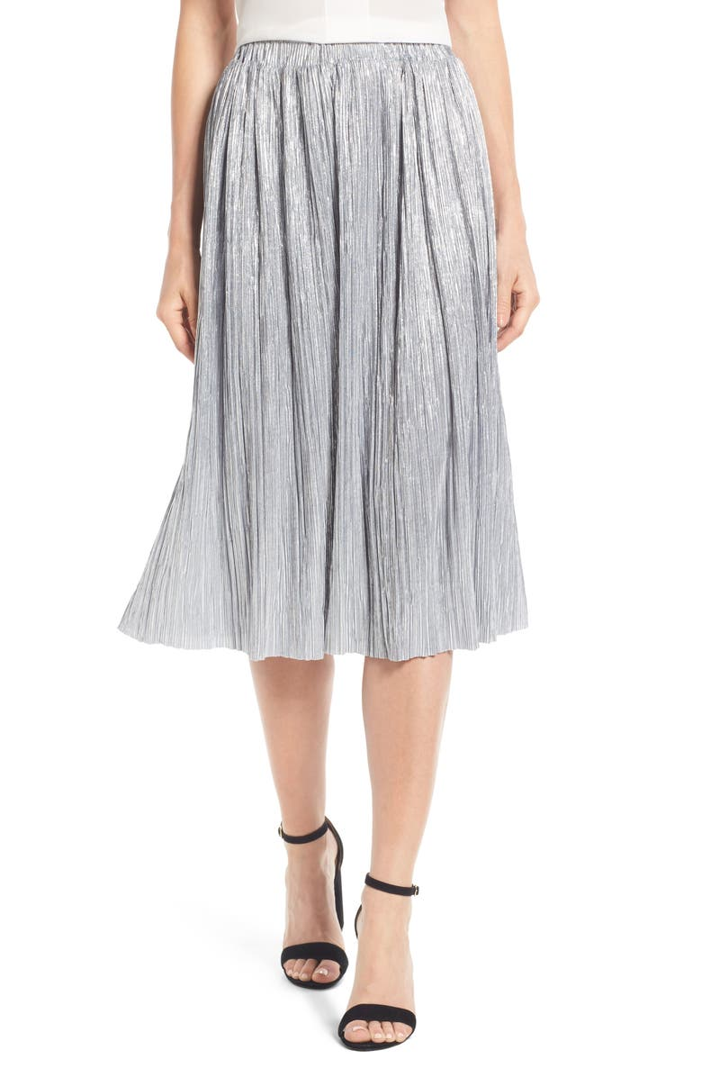 VINCE CAMUTO Pleat Foiled Knit Skirt, Main, color, 049