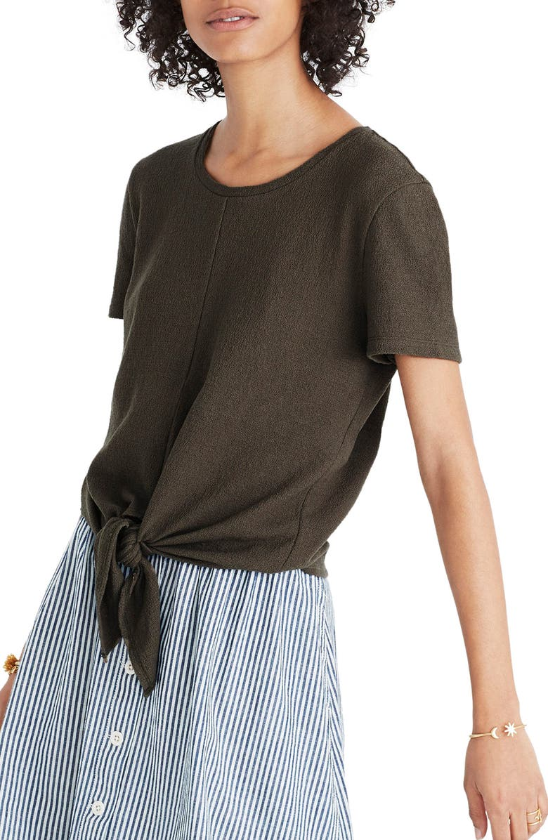 MADEWELL Modern Tie Front Tee, Main, color, 300