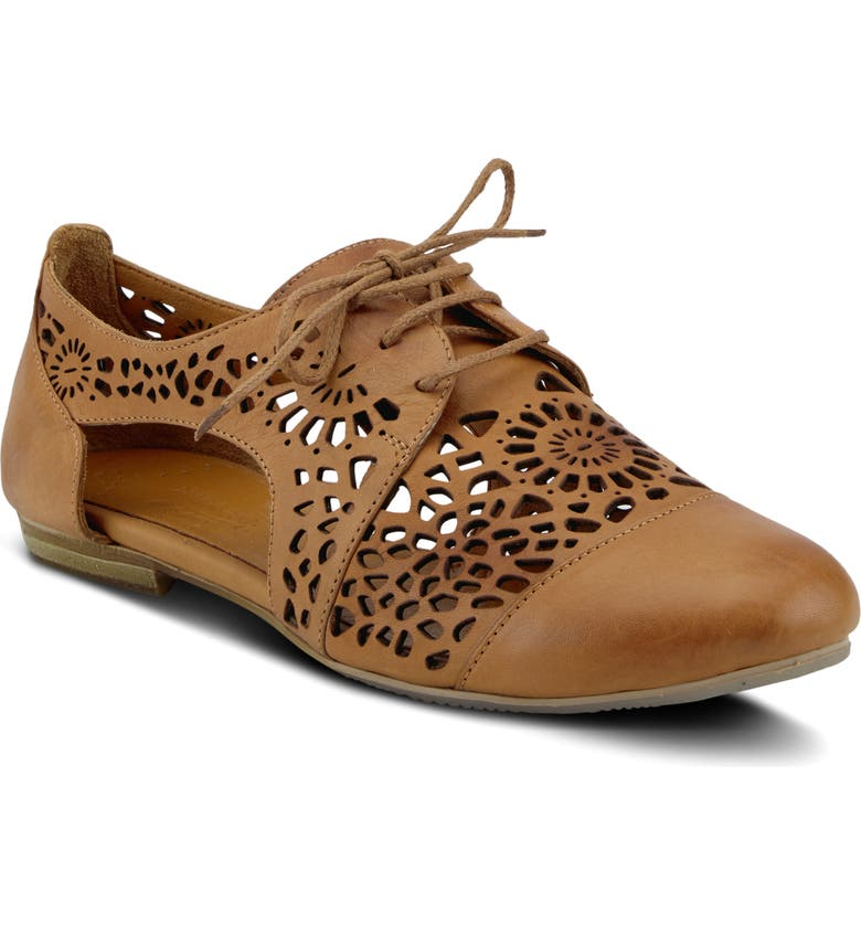 SPRING STEP Theone Cutout Derby Flat, Main, color, CAMEL LEATHER