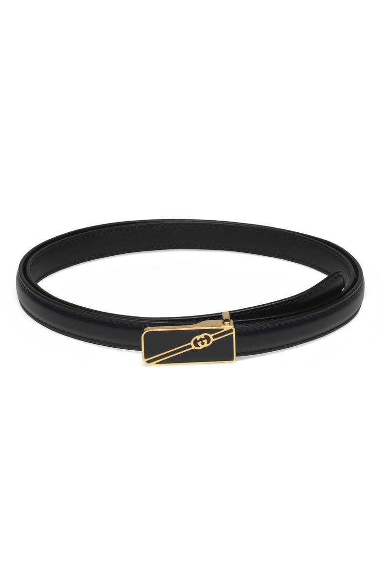 GUCCI Logo Buckle Leather Belt, Main, color, 001