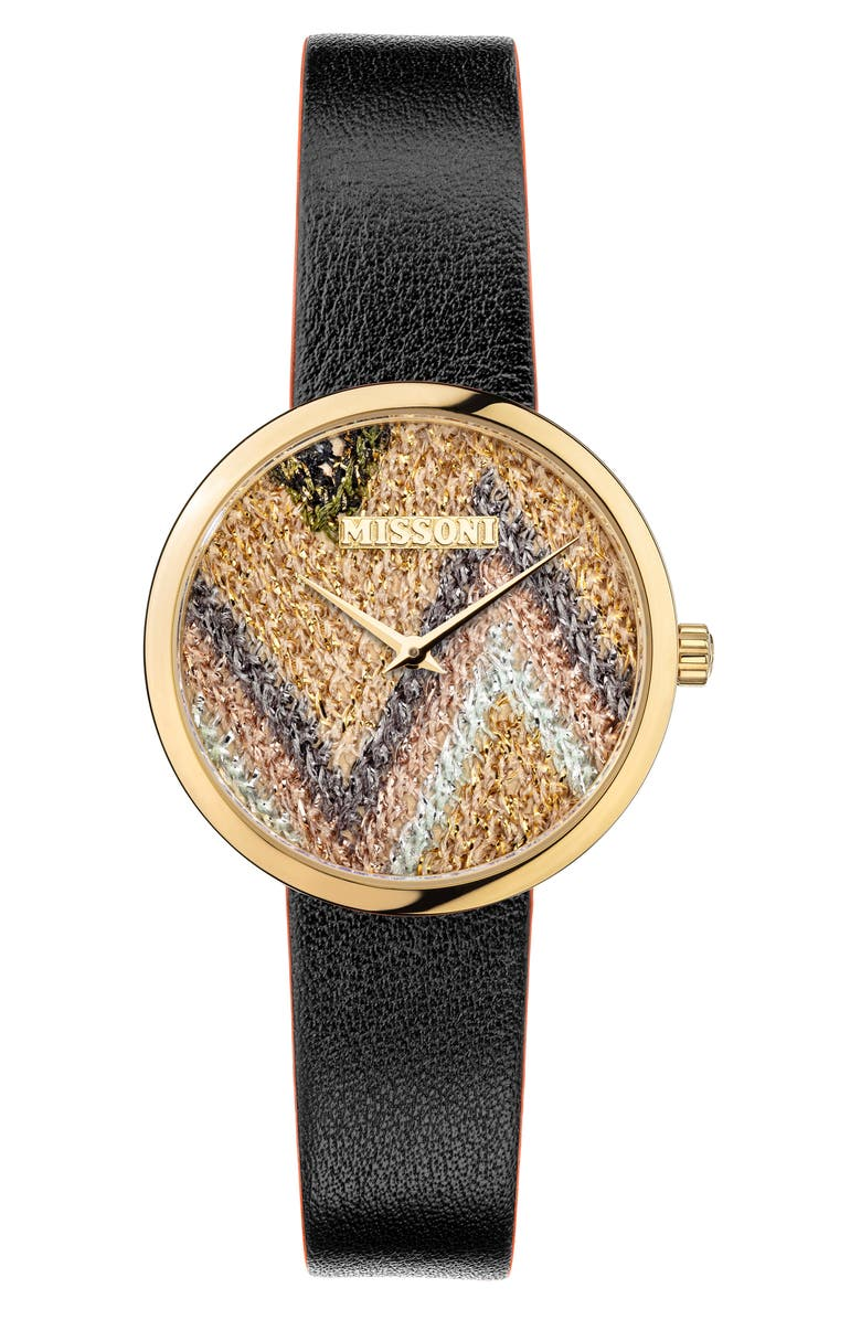MISSONI M1 Joyful Knit Dial Leather Strap Watch Gift Set, 34mm, Main, color, CHAMPAGNE / MULTICOLOR