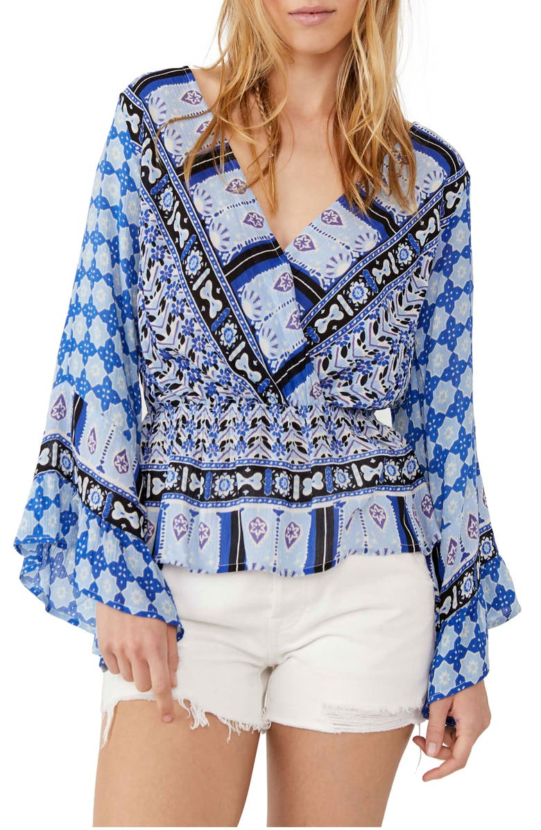 FREE PEOPLE Rosalie Bell Sleeve Faux Wrap Top, Main, color, INDIGO COMBO
