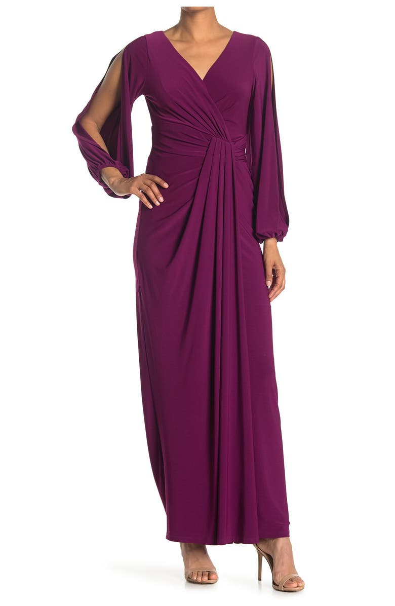 MARINA Long Ity Blouson Sleeve Gown, Main, color, BERRY