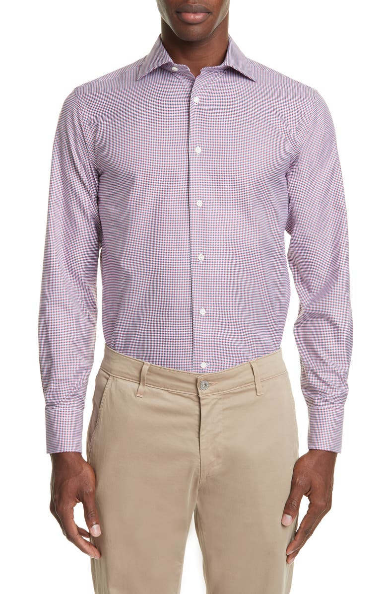 CANALI Regular Fit Houndstooth Dress Shirt, Main, color, 600
